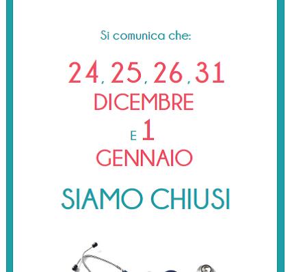 <!--001--> Chiusura Natale 2018